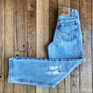 VTG Levi's 550 Destroyed Orange Tab Boys Jeans S16